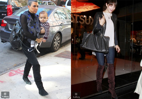 Kourtney Kardashian, wearing a fur vest and knee high boots, holds onto her son Mason as she heads into a building in Manhattan